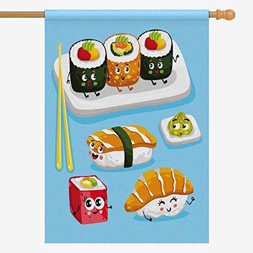 InterestPrint Funny Cartoon Sushi Emoji Cute Emoticon Face