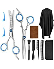 9 PCS Professional Hair Cutting Scissors, Barber Thinning Scissors Hairdressing Shears Stainless Steel Hair Cutting Shears Set with Cape Clips Comb for Barber Salon and Home