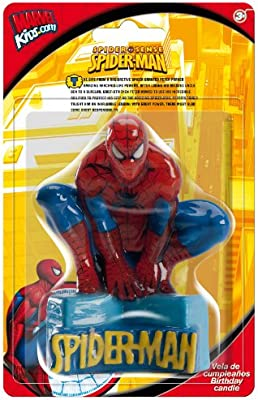 Spiderman 346004 - Vela cumpleaños en blister, 9 centímetros