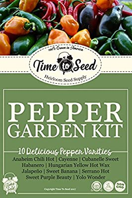 10 Pepper Garden Seed Kit Easy to Grow Heirloom NON-GMO Sweet, Hot and Mild Variety Pack from Time to Seed