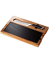 CasaWare 3 Piece Cheese Board Set 5 Inch Cheese Knife Acacia Wood Cutting Board Slate Serving Board