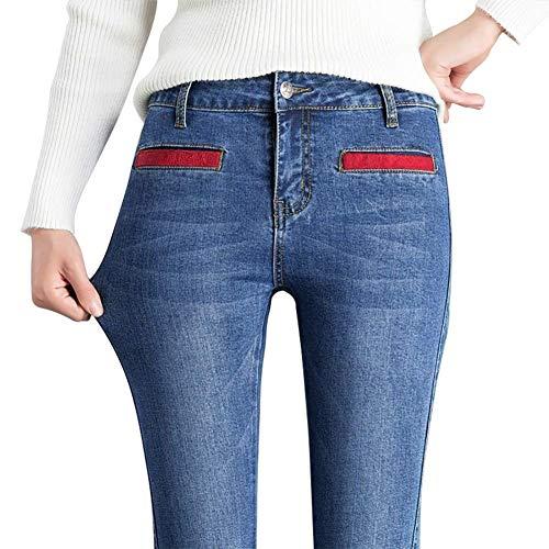 Vaqueros Mujer Elás Pantalones Vintage Moda Targogo Hellblau Acampanados Cintura Para YvFTW7q