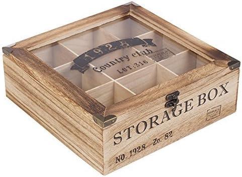 Caja de madera con tapa de cristal para guardar té: disponible con ...
