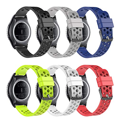 (honecumi 20mm Watch Bands Breathable Replacement for Samsung Gear S2 Classic Sm-r732 & Sm-r735/ Huawei Watch 2 /Garmin Vivoactive 3 Wrist Strap 20mm Universal Super Soft Silicone Sport Watch Strap)