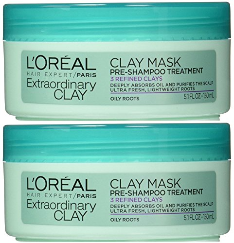 L'Oréal Paris Hair Expert Extraordinary Clay Pre-Shampoo Mask, 5.1 Fluid Ounce (Pack of 2)