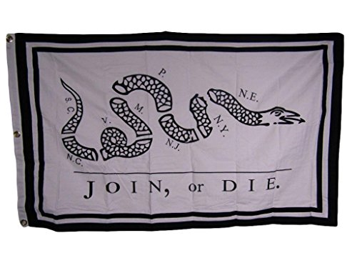 3×5 Embroidered Sewn Join Or Die B/W 100% Cotton Flag 3'x5′ 3 clips For Sale