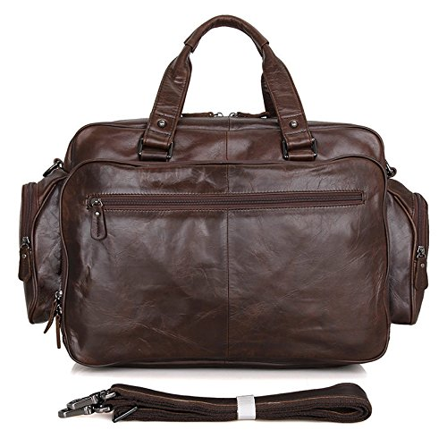 Laptop Leather Coffee Genuine Men's Carry Shoulder on Bag Travel Weekend Handbag Jsix qa7IwgEn