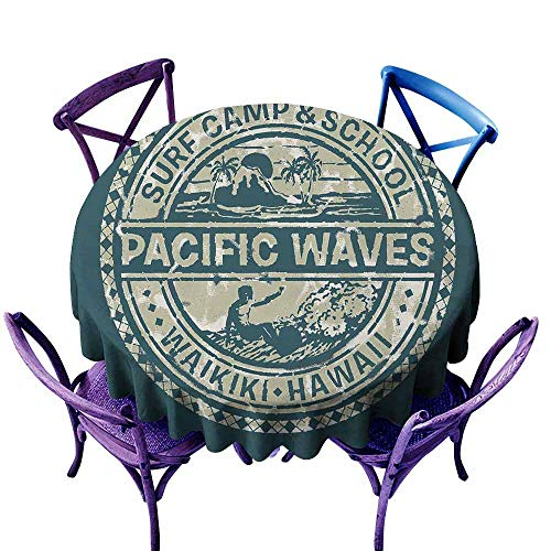 (AndyTours Tablecloth for Kids/Childrens,Modern,Pacific Waves Surf Camp and School Hawaii Logo Motif with Artsy Effects Design,Table Cover for Home Restaurant,35 INCH Khaki Slate Blue)