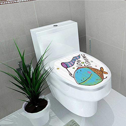 Printsonne Toilet Sticker Kids Cute Large Fish Holding Flag Love Quote Humor Fun Nursery Theme Home Decor Applique Papers W13 x L18