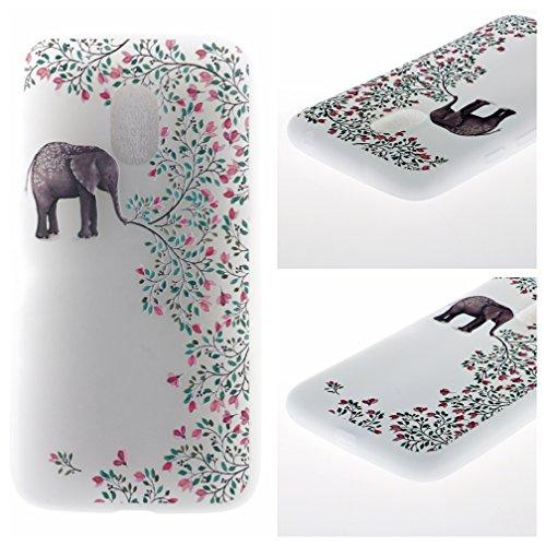 Funda Motorola Moto G4 PLAY,XiaoXiMi Carcasa de Silicona TPU Suave y Esmerilada Funda Ligero Delgado Carcasa Anti Choque Durable Caja de Diseño Creativo - Mariposa Flores de Elefante