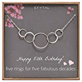 EFYTAL-50th-Birthday-Gifts-for-Women-Sterling-Silver-Five-Circle-Necklace-for-Her-5-Decade-Jewelry-50-Years-Ol