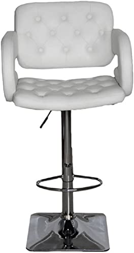US Pride Furniture Olivia Collection Modern Faux Leather Upholstered Adjustable Swivel Bar Stool with Tufted Finish and Open Arms White