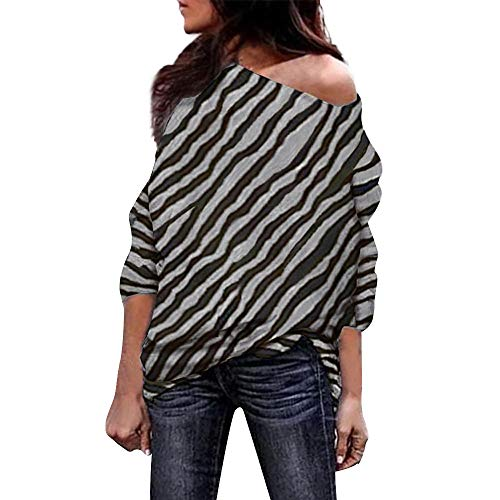 Nadition Ladies Blouse,New Women Fashion Zebra Striped Print Off Shoulder Blouses Comfy Loose Long Sleeve Tunic Tops