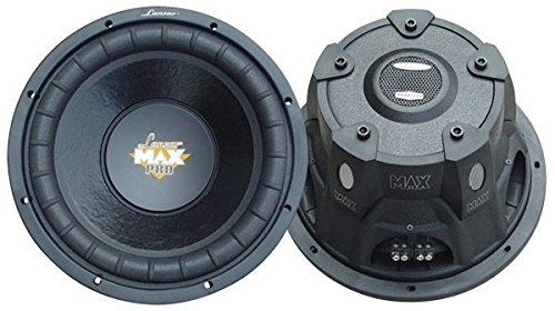Lanzar 12in Car Subwoofer Speaker - Black Non-Pressed Paper Cone, Stamped Steel Basket, Dual 4 Ohm Impedance, 1600 Watt Power and Foam Edge Suspension for Vehicle Audio Stereo Sound System - MAXP124D (W304r Ts)