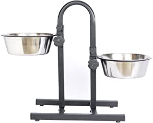 Iconic Pet Adjustable U-Design Double Diner With Anti-Skid Rubber Base Noise Free Stable Dog / Cat Food Stand, 2 Stainless Steel Elevated Food / Water Bowls In Varying Sizes For Proper Digestion