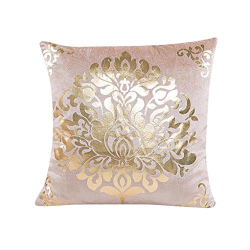 Bokeley Pillow Case, Velet Square Gold Foil Flower Print Decorative Throw Pillow Case Bed Home Decor Cushion Cover (Beige)