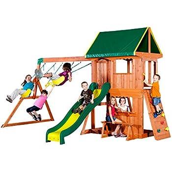 Amazon Com Backyard Discovery Prestige All Cedar Wood Playset Swing