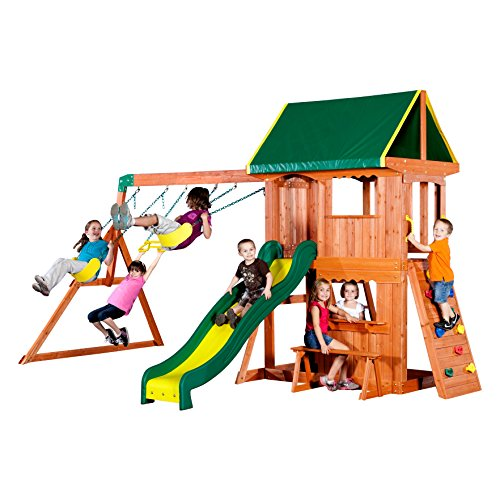 (Backyard Discovery Somerset All Cedar Wood Playset Swing Set)