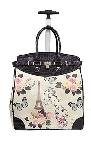 Trendy Flyer Computer/Laptop Rolling Bag 2Wheel Case Eiffel Tower Flowers ()