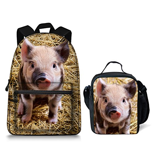 Cool Pig - Cool Pig Laptop Backpack College Backpack School Bag Teenagers with Insulated Lunchbag