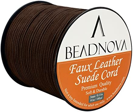 Brown 20m Spool 3mm Navifoce Genuine Flat Suede Leather Cord Lace Beading Craft Thread String
