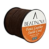 BEADNOVA 3mm Faux Suede Cord Flat Leather Cord 100 Yards Roll Spool for Necklace Bracelet Jewelry Making, Medium Brown