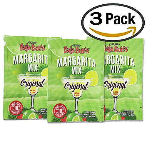 (Baja Bob's Original Margarita Mix Party 60g Powdered Packet | Simply Mix with 1/2 gallon of Water | Sugar Free Cocktail Mixer | Keto Friendly | Low Calorie | Low Carb (Value: 3-pack. Save Money) )
