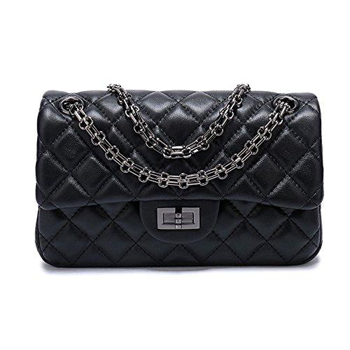 Sheli Branded Classic Medium Black Quilted Plaid Soft Lambskin Leather Shoulder Crossbody Handbag for Woman