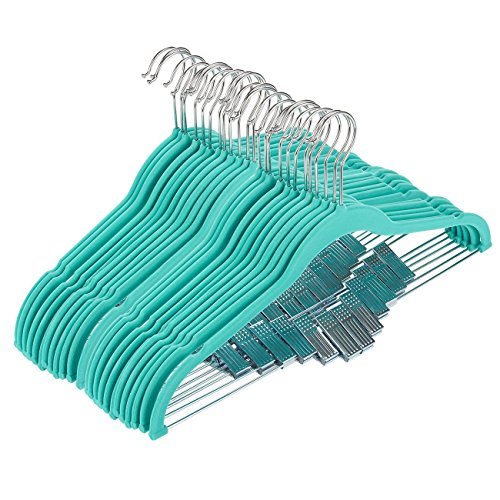 Juvale 24 Pack Adult Clothes Velvet Hangers Clips Teal Ultra Thin No Slip 17.5'' x 0.2'' x 9.5'' by Juvale