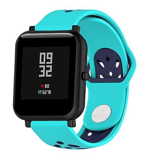 Correas de Reloj Correa de Pulsera para Huami Amazfit Bip Watch Deporte Doble Color Suave Silicona Moda Repuesto Holatee: Amazon.es: Relojes