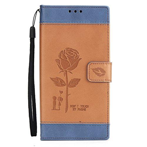 Olyee Sony XA1 Hülle, Leder PU Cover Magnet Flip Hülle Schutzhülle Kartensteckplätzen und Ständer Handytasche für handyhülle Sony XA1 Brown