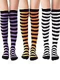 Tatuo 3 Pairs Knee Socks Knee Thigh High Stocking for Women Girls Halloween Birthday Party (Color Set 1)