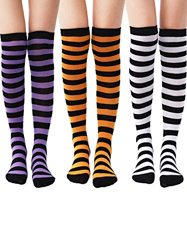 Tatuo 3 Pairs Long Striped Socks Knee High Stocking for Women Girls Christmas Cosplay Birthday Party (Color Set -