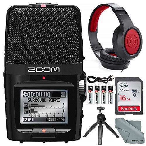 Zoom H2n Handy Digital Recorder along With Samson Studio Headphones and Deluxe Accessory Bundle (Zoom H2n Microphone)