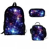 HUGS IDEA 3 Piece Children School Backpack Galaxy Starry Bookbag Lunch Bag Pen Holder