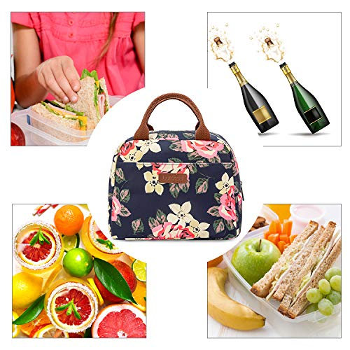 LOKASS Lunch Bag Cooler Bag Women Tote Bag Insulated Lunch Box Water-resistant Thermal Lunch Bag Soft Leak Proof Liner Lunch Bags for women/Picnic/Boating/Beach/Fishing/School/Work (Peony) by LOKASS (Image #1)