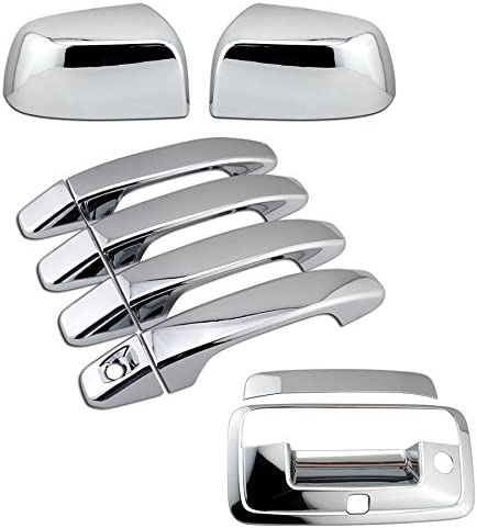 4 Door Tailgate Handle Camera Hole Cover Set for 2015-2018 Chevy Colorado EZ Motoring Chrome Overlay Side Mirror