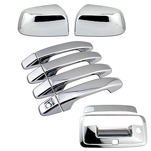 EZ Motoring Chrome Overlay Side Mirror + 4 Door + Tailgate Handle Camera Hole Cover Set for 2015-2018 GMC Canyon