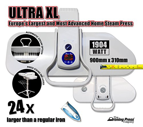 Ultra XL Steam Iron Press by Speedypress with Stand - Europe's Largest & Most Advanced Home Steam Press (90cm x 31cm; 1,904watt) For Super Fast Ironing (+ FREE Extra Cover & Foam Underfelt RRP £35.00 + Other Accessories)