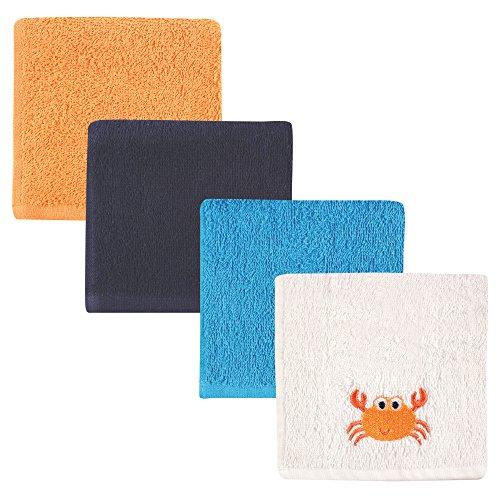 Luvable Friends 4-Piece Super-Soft Washcloths, Crab, 10x10