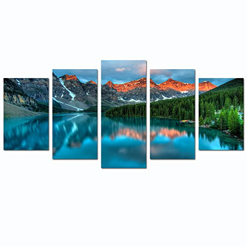 Sea Charm - Colorful Landscape Canvas Prints,Moraine Lake Sunrise in Banff National Park,Modern Home Decoration Picture Wall Art,Framed and Ready to Hang