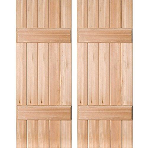 Ekena Millwork RWB18X060UNP Exterior Five Board Real Wood Pine Board-n-Batten Shutters (Per Pair), 18