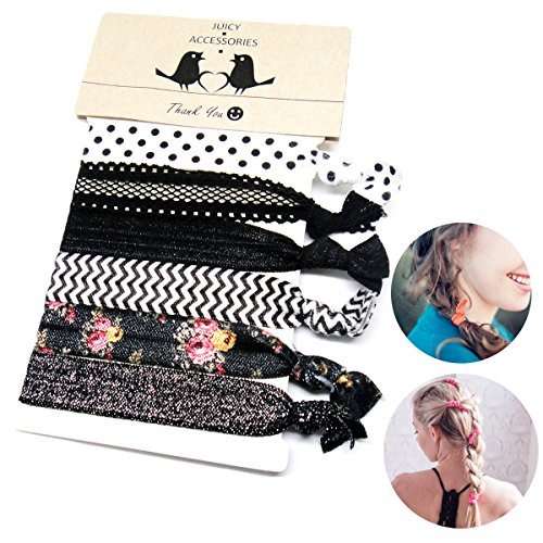 Elastic Hair Ties - Ponytail Holders - Prints and Solids, 6 Ties (Black)