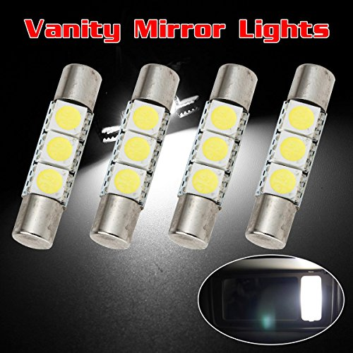 Partsam 4PCS White 29mm Festoon LED Light Interior Vanity Mirror Sun Visor (Mazda Mx6 Mirror)
