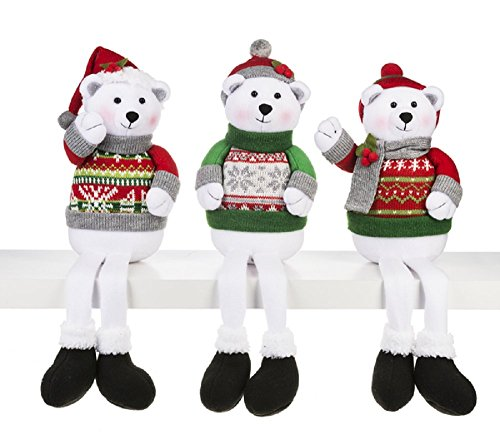 Ganz North Pole Friends Stuffed Polar Bear Shelf Sitters Set of 3 Assorted