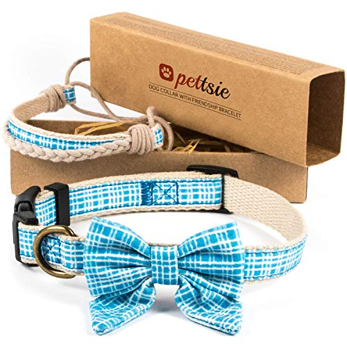 Pettsie Dog Collar Bow Tie & Owner Friendship Bracelet, Adjustable Size Small & Medium, Durable, Soft, Pet-Friendly Hemp with Fancy Cotton Pattern, Strong D-Ring for Easy Leash Attachment