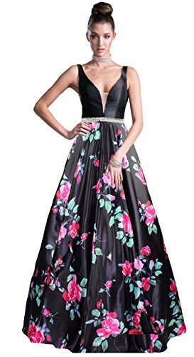 Woman Open Back Satin Dress (Meier Women's Long Sleeveless Open Back Print Formal Ball Gown (16, Black V-Neck))
