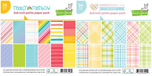 Lawn Fawn - Petite Paper Pads - Really Rainbow and Perfectly Plaid Spring - 2 Single-Sided 6 x 6 Inch Paper Pads