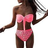 VEMOW Women's Bikini Sets, One-Piece Swimsuits Competitive Swimwear Tankinis Beachwear Cover-Ups Sarongs Girls' Clothing Holiday Beach Sea, Hot Drilling Sequin Push up Bra Bathing (XL, White)