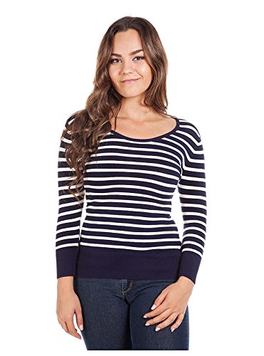 G2 Chic Women's Long Sleeve Striped Knit Casual Sweater Top(TOP-SWT,DBL-M)